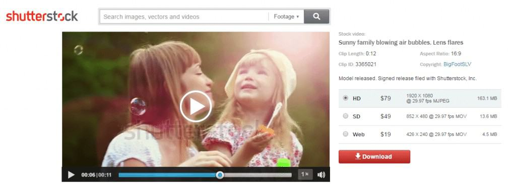 Shutterstock Footage Clip Page