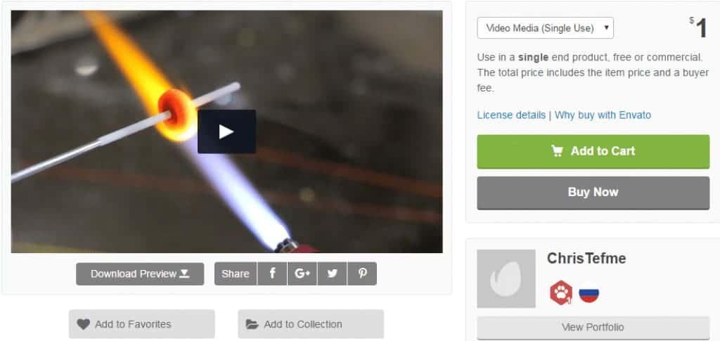 VideoHive Clip Page