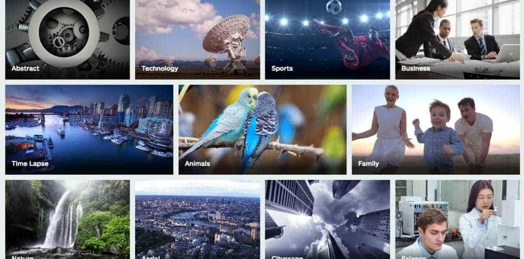 iStock Video Categories Screenshot