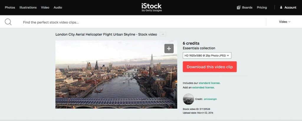 iStock Video Selection Page